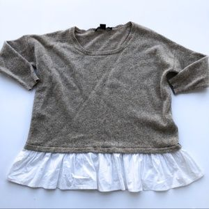French Connection Wool Sweater with Ruffle Hem